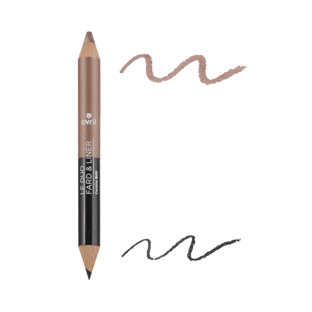 Duo fard & liner Noir charbon/Taupe nacré
