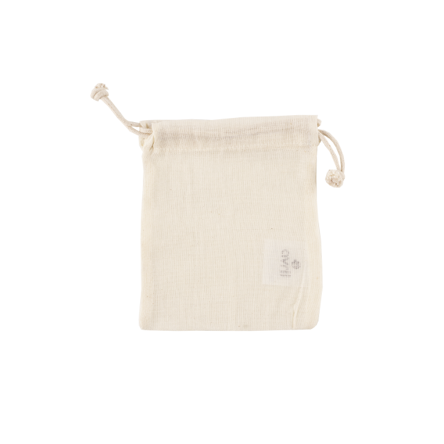 Pochette en coton bio écru 11 x 14 cm