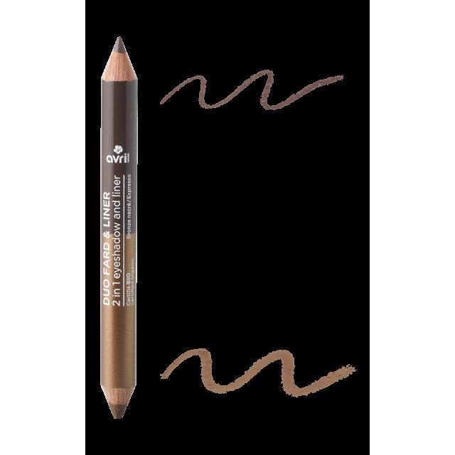 Duo fard & liner Expresso/Bronze nacré  Certifié bio